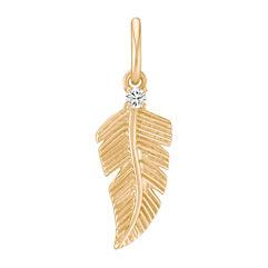 Round Diamond Feather Charm