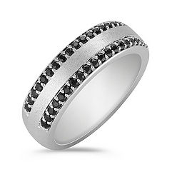 Pavé Set Black Sapphire Ring