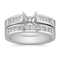 Cathedral Princess Cut Diamond Wedding Set with Channel Setting - 1 ct. t.w.