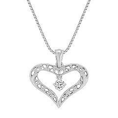 Round Diamond and Sterling Silver Lattice Heart Pendant (18)