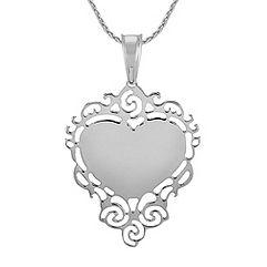 Engravable Sterling Silver Lace Heart Pendant (24)