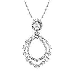 Fancy Shape and Round Diamond Circle Pendant (18 in.)