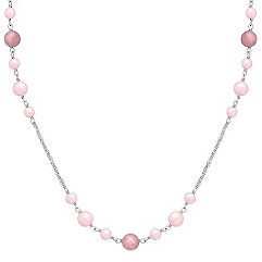 5.5-8mm Pink Cultured Freshwater Pearl, Rhodonite, and Sterling Silver Necklace (24 in.)