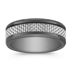 Cobalt Ring with White Carbon Fiber Accents (8mm)
