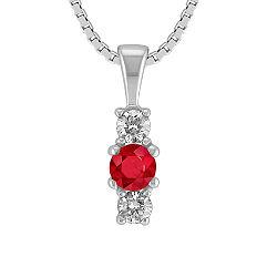 Round Ruby and Diamond Three-Stone Pendant (18 in.)