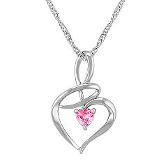 Heart Shaped Pink Sapphire and Sterling Silver Heart Pendant (18)