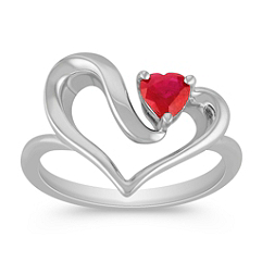 Heart-Shaped Ruby and Sterling Silver Heart Ring