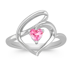 Heart-Shaped Pink Sapphire and Sterling Silver Heart Ring