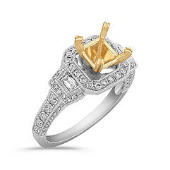 Halo Vintage Baguette and Round Diamond Engagement Ring in Two-Tone Gold with Pavé Setting