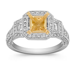 Halo Vintage Baguette and Round Diamond Engagement Ring in Two-Tone Gold with Pave Setting
