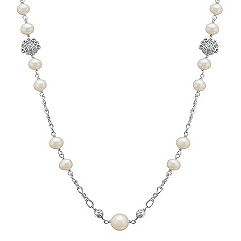 6.5-10mm Cultured Freshwater Pearl and Sterling Silver Necklace (30)