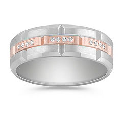 Diamond Ring in 14k White & Rose Gold
