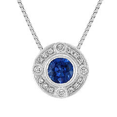 Vintage Round Sapphire and Diamond Circle Pendant (18 in.)