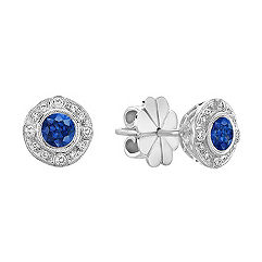 Sapphire and Diamond Vintage Circle Earrings