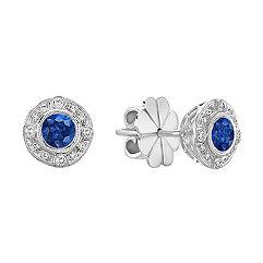 Sapphire and Diamond Vintage Circle Earrings