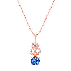 Kentucky Blue Sapphire Pendant in Rose Gold (18 in.)
