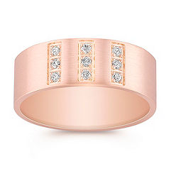 Brushed Diamond Ring in Rose Gold