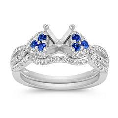 Round Sapphire and Diamond Wedding Set with Pave Setting