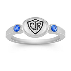 Kentucky Blue Sapphire and Sterling Silver CTR Ring