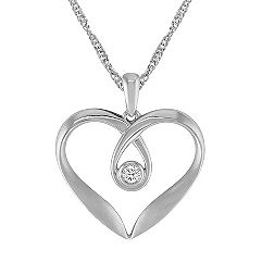 Diamond and Sterling Silver Heart Pendant (18 in.)