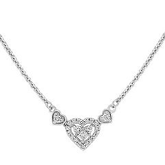 Princess Cut and Round Diamond Heart Necklace (16 in.)