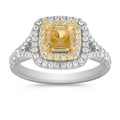 Diamond Double Halo Engagement Ring in Two-Tone Gold with Pave Setting