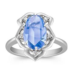Freeform Blue Sapphire and Round Diamond Ring