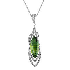 Marquise Green Sapphire and Round Diamond Pendant (18 in.)