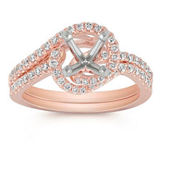 Pave Set Diamond Swirl Wedding Set in 14k Rose Gold