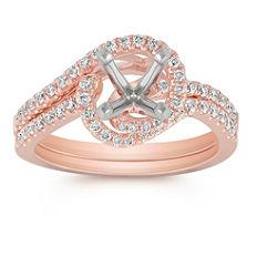 Pave Set Diamond Swirl Wedding Set in 14k Rose Gold