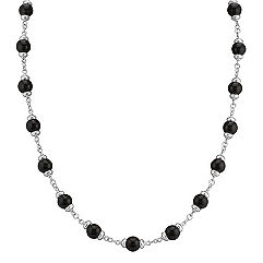 Sterling Silver and Black Agate Necklace (30 in.)