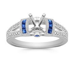 Vintage Princess Cut, Round Sapphire and Round Diamond Engagement Ring in Platinum