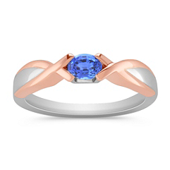 Oval Kentucky Blue Sapphire Ring in Sterling Silver and Rose Gold
