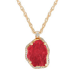 Polished Rough Ruby and Princess Cut and Round Diamond Pendant (18 in.)