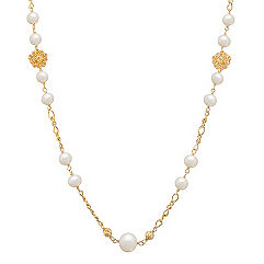 6.5-10mm Cultured Freshwater Pearl and Yellow Sterling Silver Necklace (30)