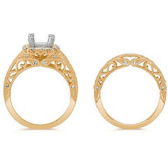 Halo Vintage Diamond Wedding Set with Pavé-Setting in 14k Yellow Gold
