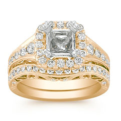 Halo Vintage Diamond Wedding Set with Pave-Setting in 14k Yellow Gold