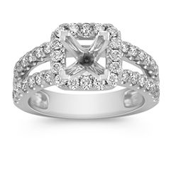 Split Shank Halo Diamond Engagement Ring with Pavé-Setting
