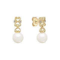 7mm Cultured Akoya Pearl Diamond Dangle Earrings