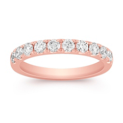 Diamond Wedding Band in 14k Rose Gold