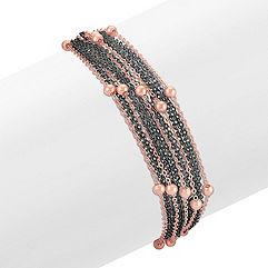 Rose and Black Sterling Silver Bracelet (7 in.)