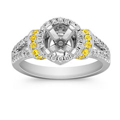 Halo Yellow Sapphire and Diamond Engagement Ring with Pave Setting