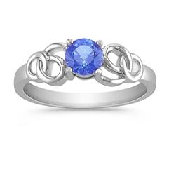 Round Kentucky Blue Sapphire Swirl Ring