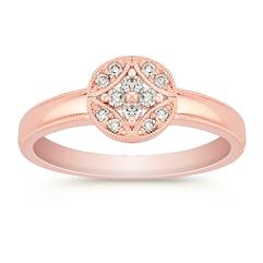 Vintage Diamond Cluster Ring in Rose Gold