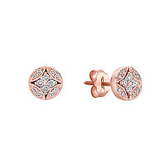 Vintage Diamond Circle Cluster Earrings in 14k Rose Gold