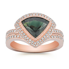 Trillion Green Sapphire and Round Diamond Ring in 14k Rose Gold