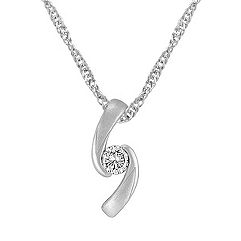 Sterling Silver and Diamond Pendant (18 in.)