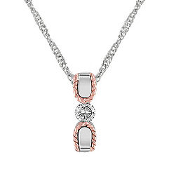 Diamond Sterling Silver and 14k Rose Gold Pendant (18)