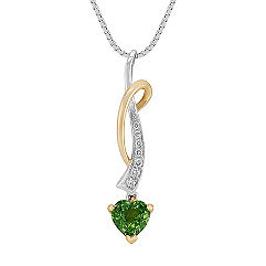 Heart Shaped Green Sapphire and Round Diamond Pendant in Two-Tone Gold (18 in.)