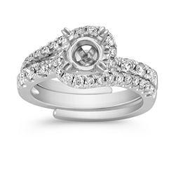 Halo Swirl Diamond Wedding Set